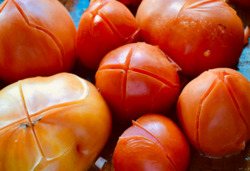 blanched tomatoes