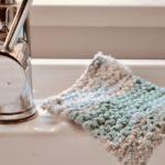 knit dishcloth scrubbie on sink